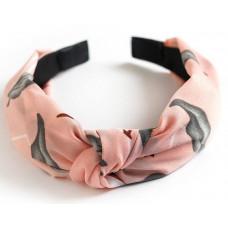 Hårbånd med elastik rosa/grå