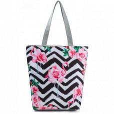 Shopper Zigzag m blomst
