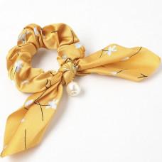 Hår elastik med perle gul