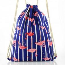 Mulepose blå med flamingo