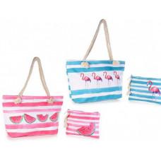 Strandtaske sæt  med foer og ekstra taske